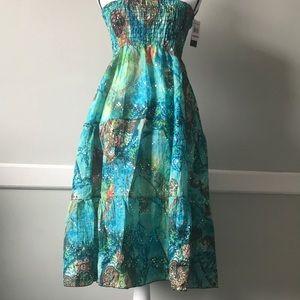 Ingear Swim Beach Strapless Cover Up Blue/Gr Dress